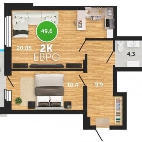Современная планировка двухкомнатной квартиры европейского типа