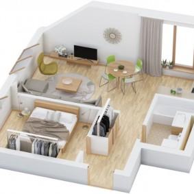 Проект еврооднушки с расстановкой мебели