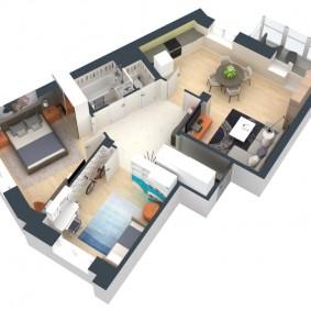 Проект трехкомнатной квартиры европейской планировки