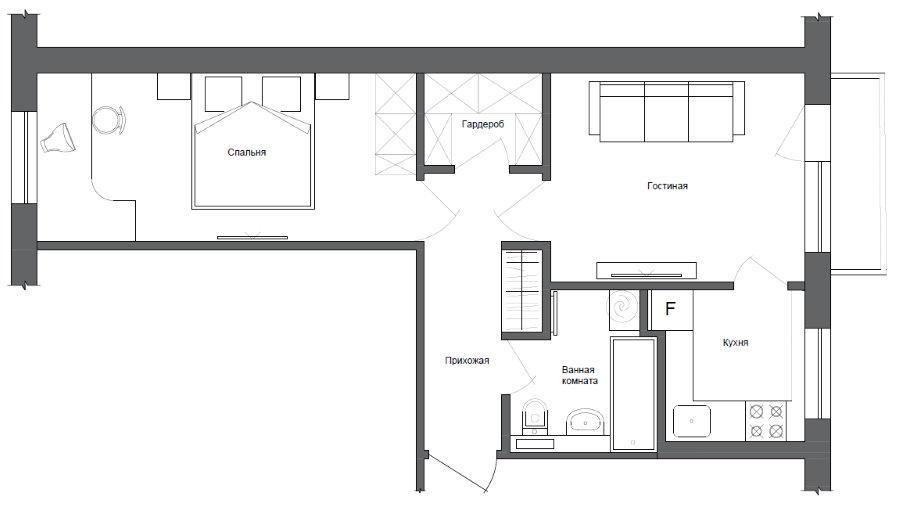 Схема хрущевки с 2 комнатами после ремонта