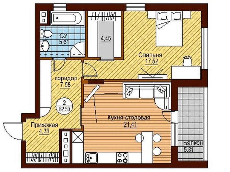 Планировка однушки в новостройке с балконом