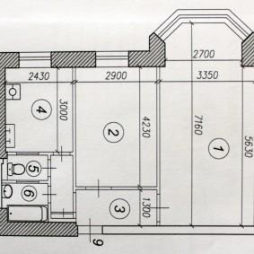 План типовой сталинки в кирпичном доме