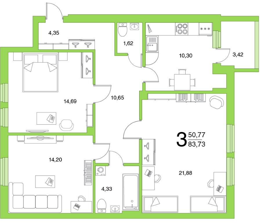 План трехкомнатной квартиры в доме современной постройки