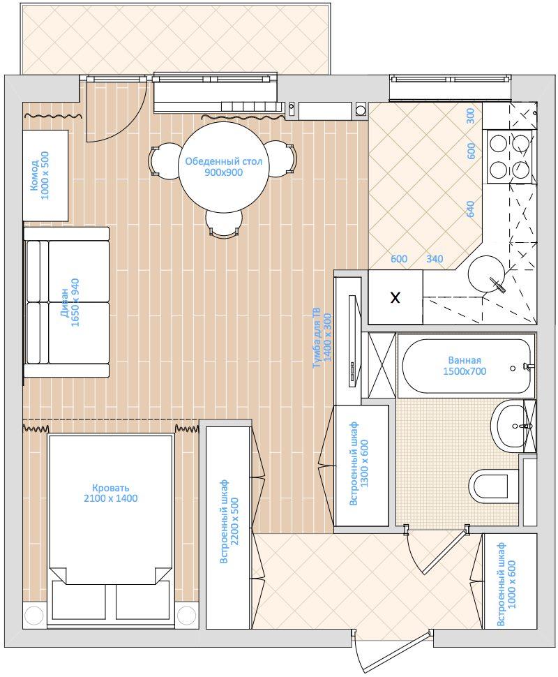 План расстановки мебели в квартире студии