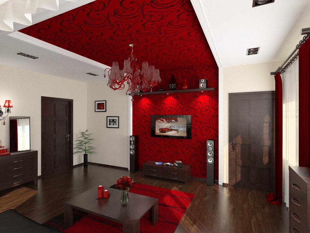 Бардовые обои на потолке стильной гостиной
