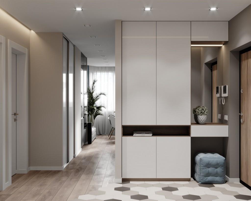 Мебель в прихожей квартиры студии площадью 25 кв м