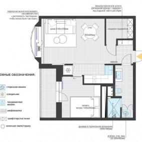 Планировка евродвушки площадью около 40 кв метров
