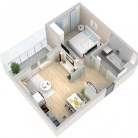 Планировка однокомнатной квартиры в европейском стиле