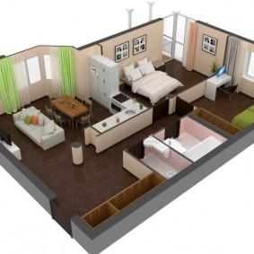 3D-проект расстановки мебели в трешке европейской планировки