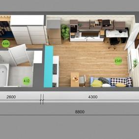 План квартиры студии 25 кв метров с размерами