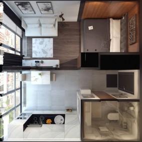 Дизайн проект квадратной квартиры-студии