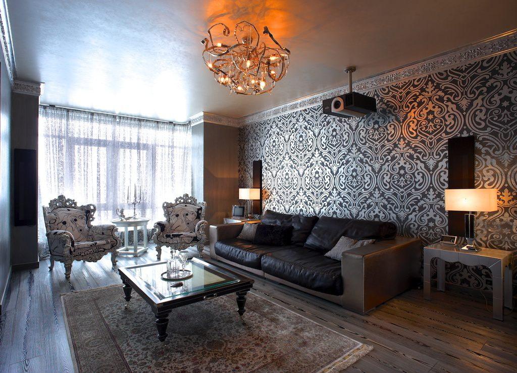 Проектор на потолке гостиной комнаты в современном стиле