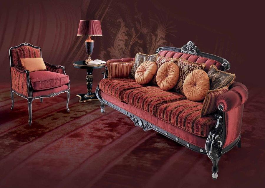 Красивый диван в гостиной комнате стиля арт деко