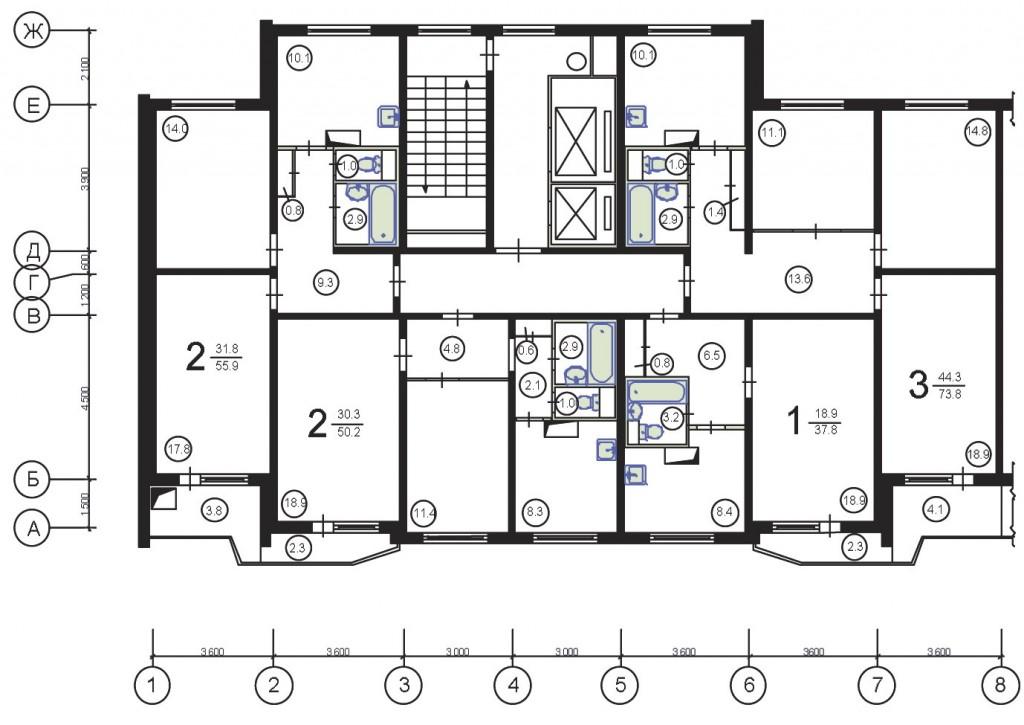 План этажа в панельном доме п 44