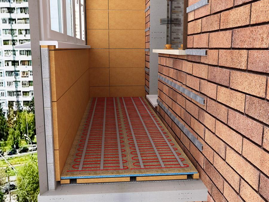 Разрез балкона с теплым электрическим полом