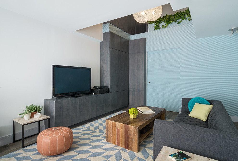 Серая угловая стенка в современную гостиную
