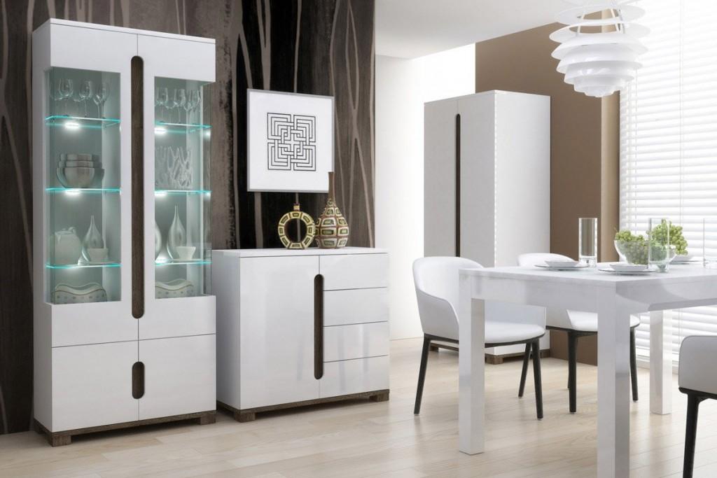 Белый сервант для посуды в гостиной стиля хай-тек
