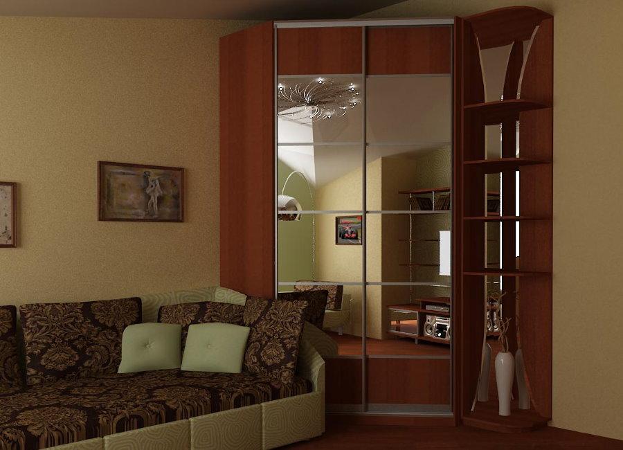 Зеркальный шкаф в углу гостиной 12 кв метров