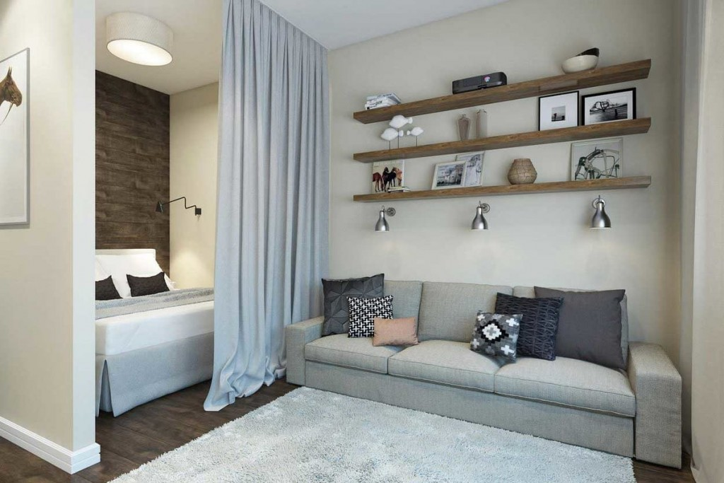 Спальное место за шторой из плотной ткани