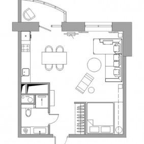 Схема расстановки мебели в квартире студийного типа