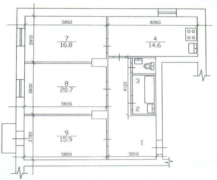 Схема расположения комнат в 3 комнатной сталинке