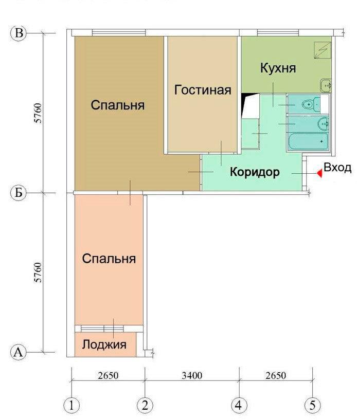 Схема расположения комнат в квартире дома 1605 ам