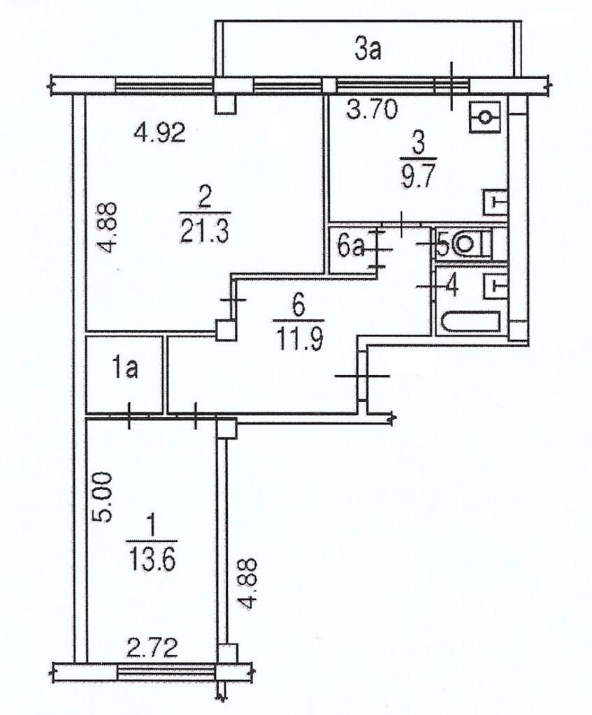 Схема трешки в панельном доме 1мг-601