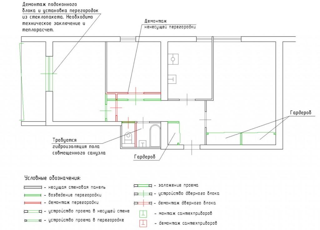 Законная перепланировка трехкомнатной квартиры в доме II-68