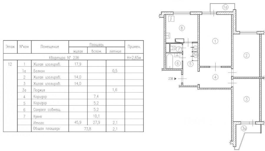 Типовая планировка трешки в доме П3 16