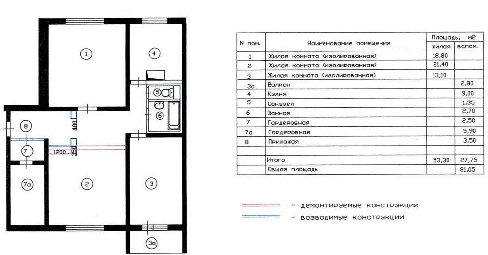 Схема планировочного решения 3 комнатной квартиры серии П-30