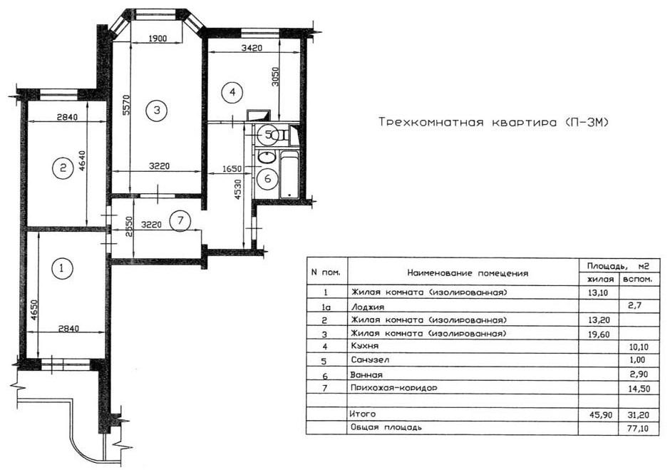 Схема трехкомнатной квартиры в доме П3 м с эркером