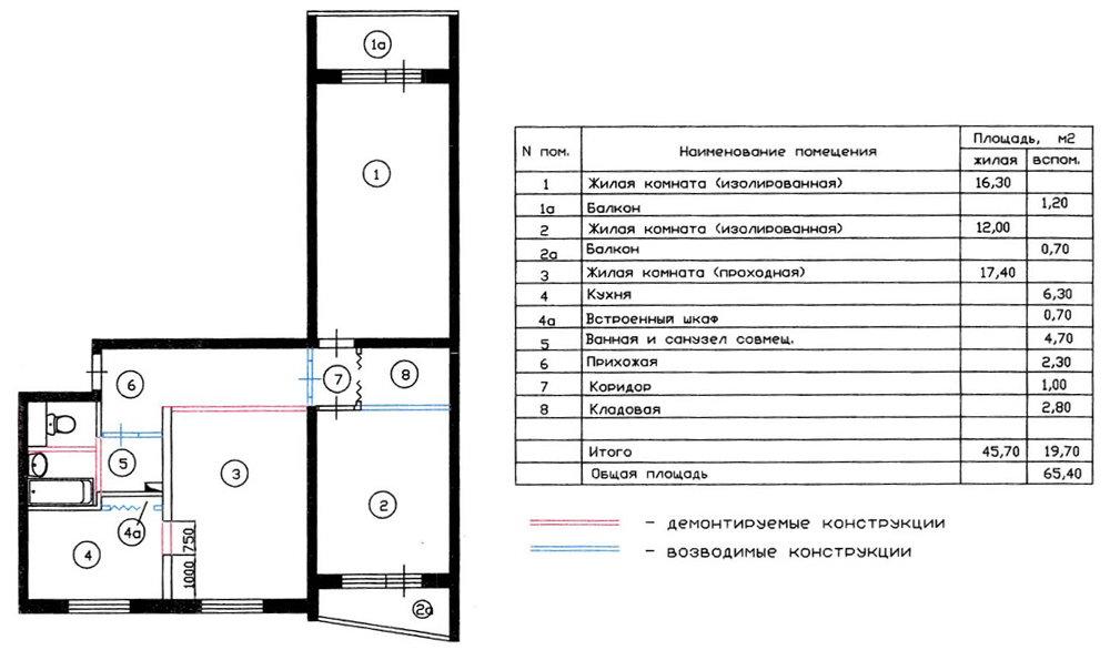 Схема перепланировки трехкомнатной квартиры серии П57