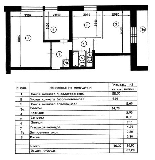 План квартиры в доме П-68 блочного типа