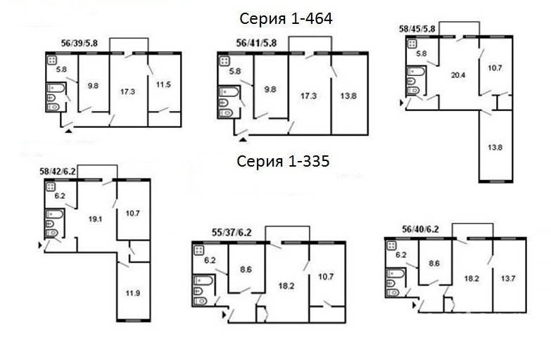 Планировки типовых 3 комнатных хрущевок