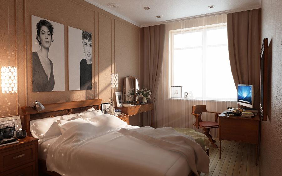 Монохромные фото над изголовьем кровати