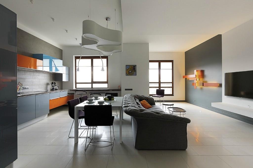 Кухня-гостиная в доме современной застройки
