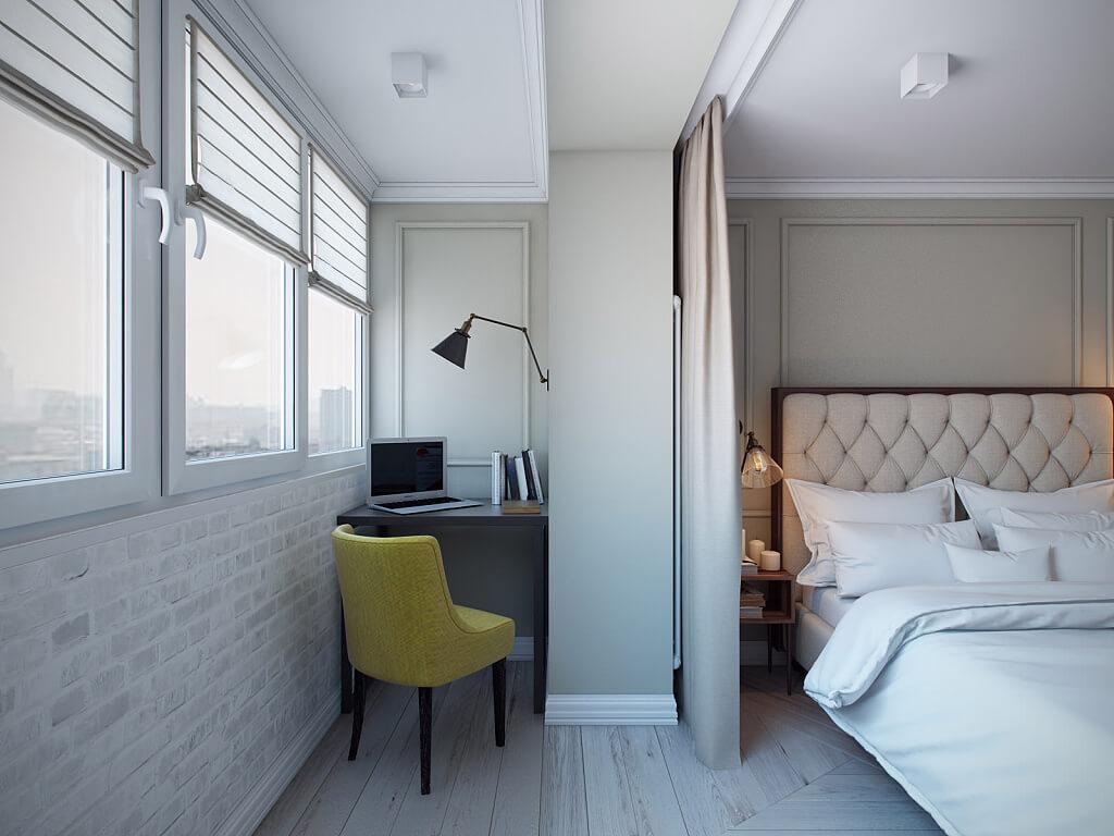 Рабочий столик в спальне с присоединенным балконом