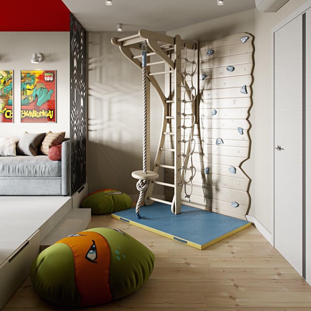 Интерьер детской комнаты со спортивным уголком