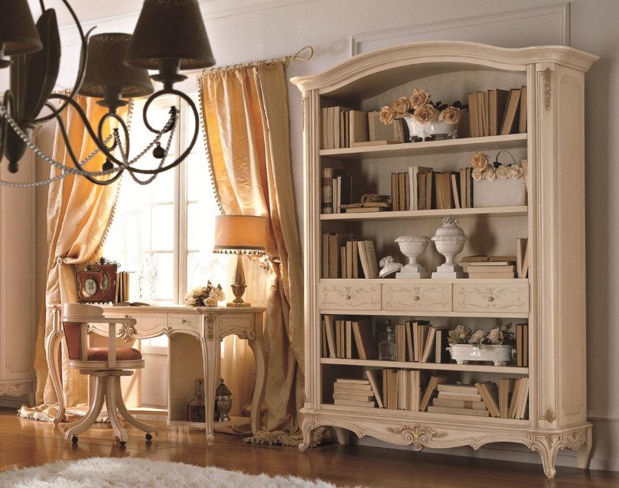 Книжный стеллаж в гостиной классического стиля