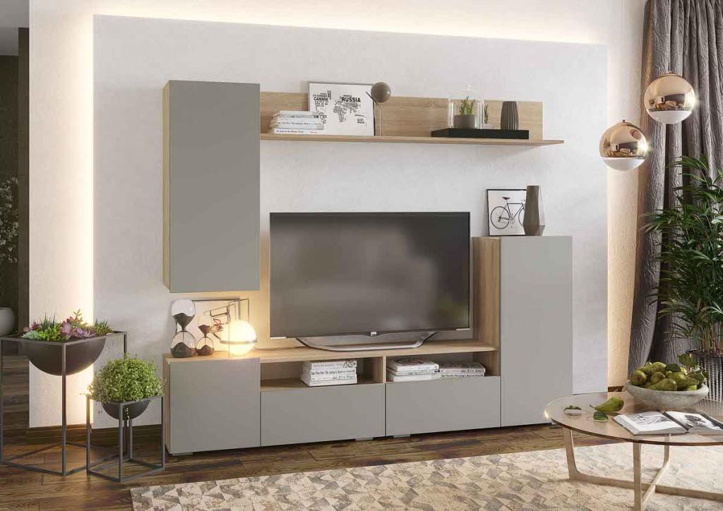 Стенка под телевизор с фасадами серого цвета