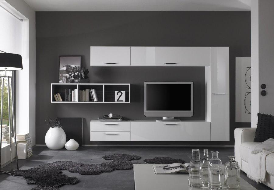 Дизайн мебельной стенки для телевизора в гостиной