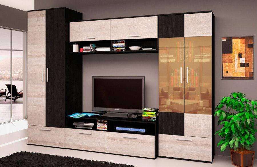 Стильная модель стенки со шкафом для гостиной