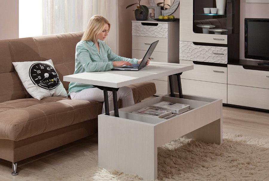 Стол-трансформер в интерьере маленькой гостиной