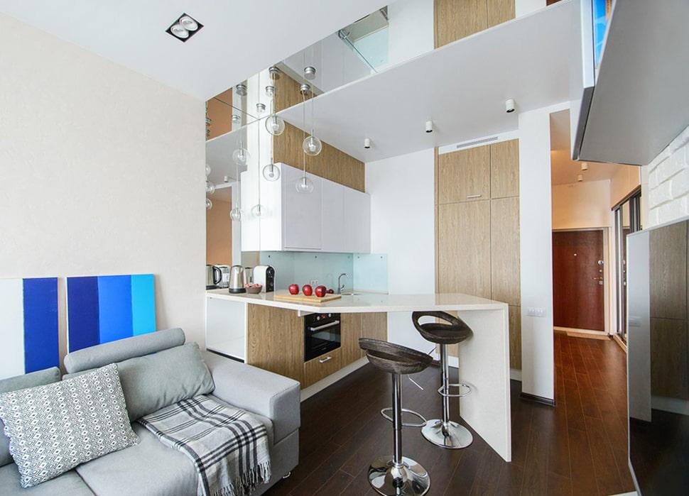 Кухонный уголок в квартире студии 19 кв метров