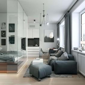 Стеклянная перегородка в однокомнатной квартире