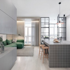 Ровные фасады кухонной мебели
