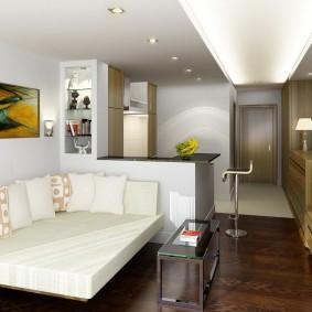 Дизайн вытянутой квартиры-студии в современном стиле