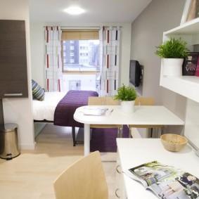 Интерьер очень узкой однокомнатной квартиры