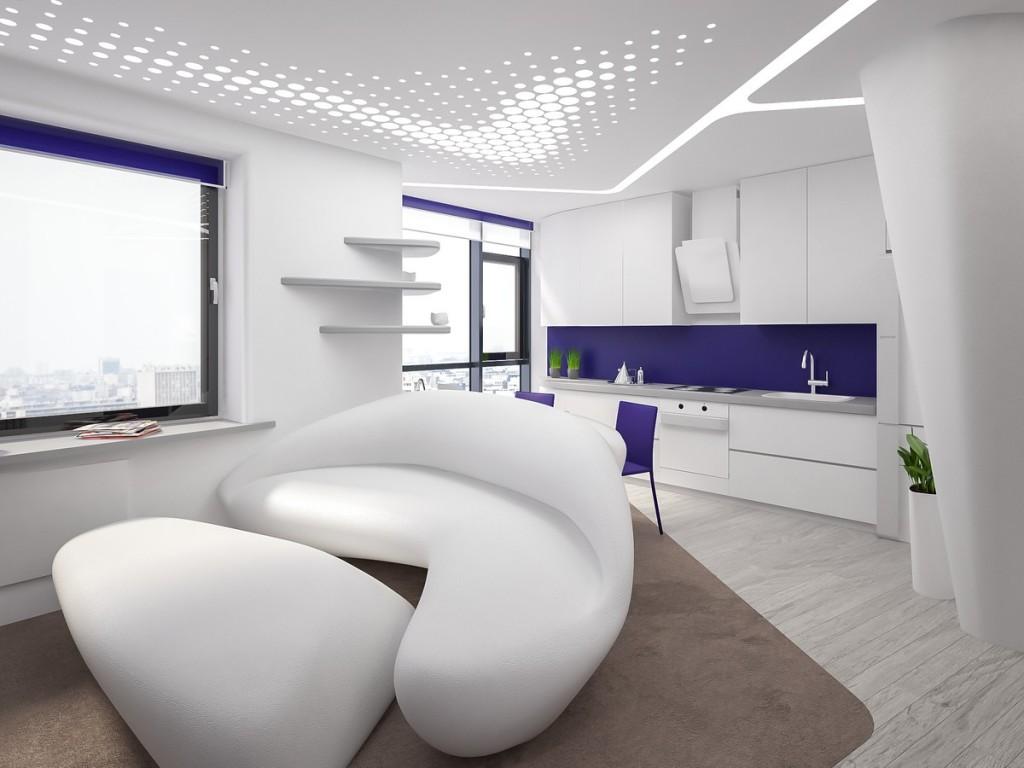 Дизайн квартиры студии в стиле хай-тек