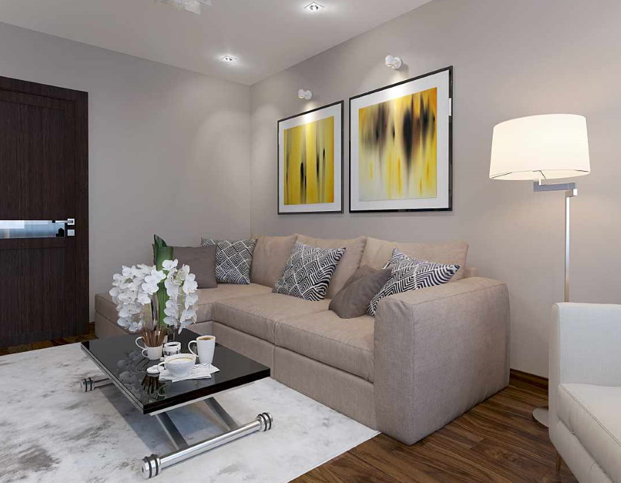 Декоративная подсветка картин над диваном в гостиной